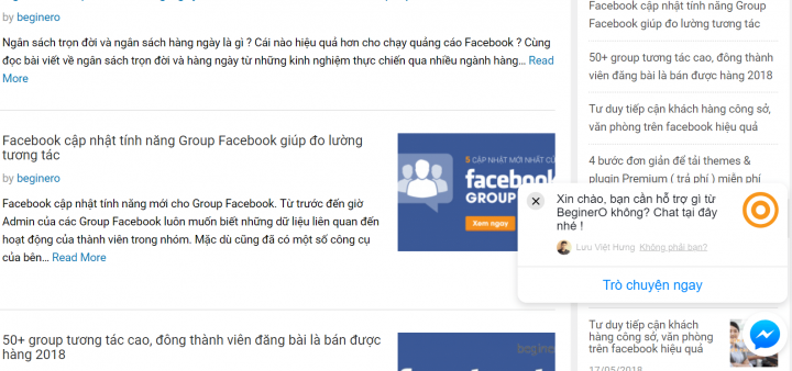 Tích hợp Messenger Customer Facebook vào website thành công