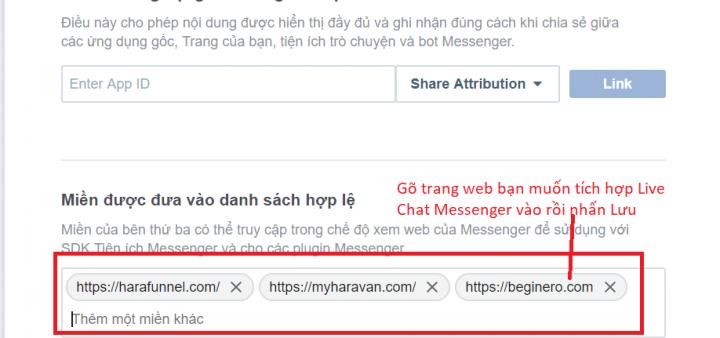 Tích hợp website vào nên tẳng Messenger