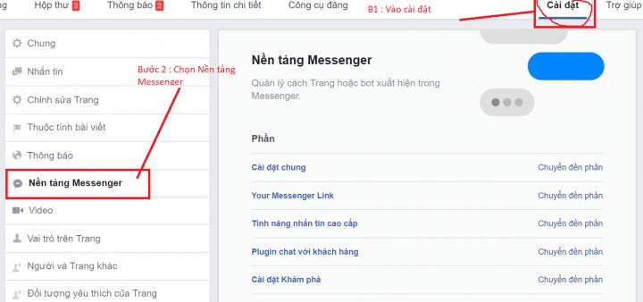 Tích hợp website vào nên tảng Messenger