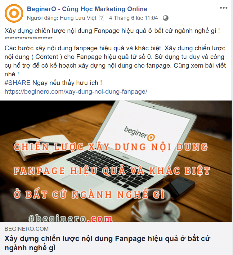 Bài viết fanpage share link từ web sang