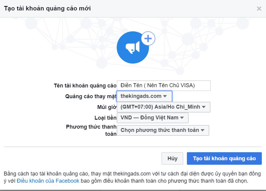 Tạo tài khoản quảng cáo mới trong Business Facebook