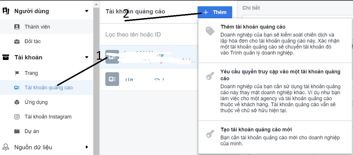 Thêm tài khoản quảng cáo trong Facebook Business