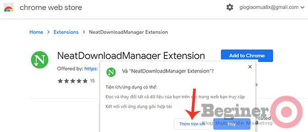 Add Neat Download Manager vào trình duyệt