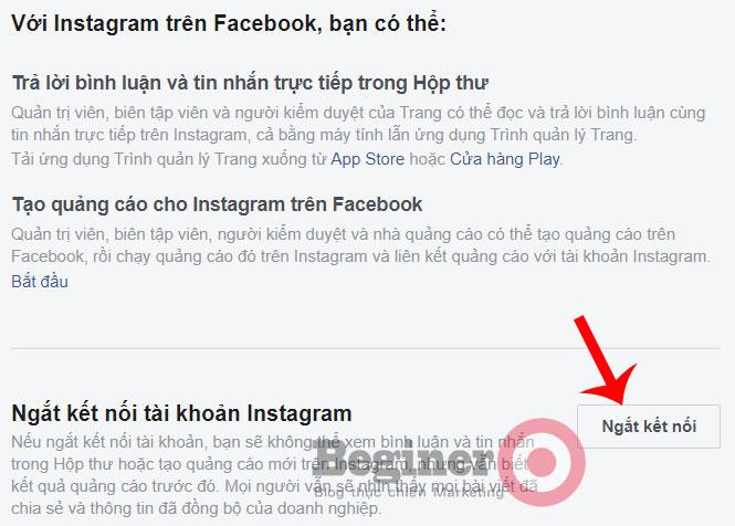 Ngắt liên kết tài khoản Instagram với Facebook và Fanpage