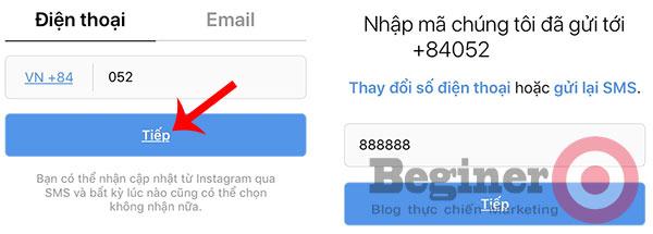 Đăng ký tài khoản Instagram trên điện thoại
