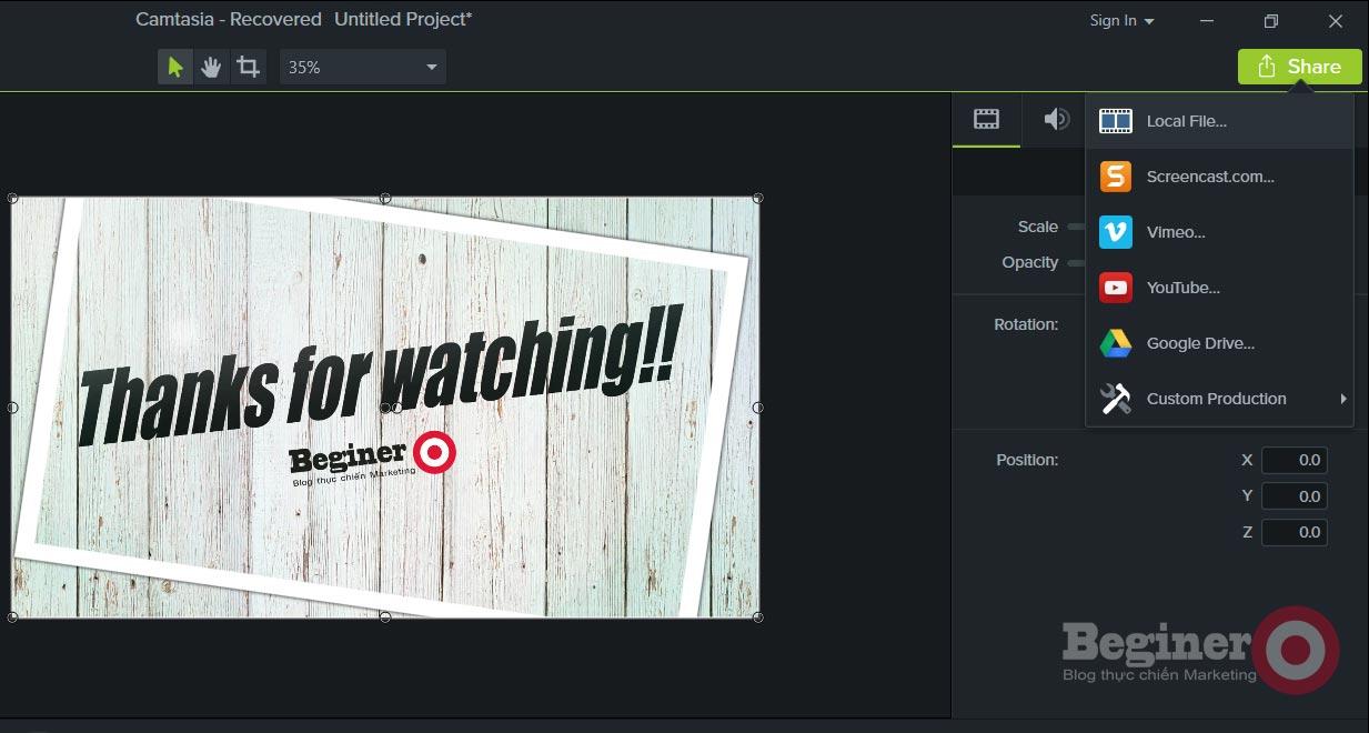 Cách xuất video HD bằng Camtasia